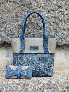 Купить Сумка кожаная с тиснением Terra Incognita - цветочный, синий, сумка кожаная