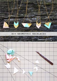 DIY polymer clay geometric necklaces geometric | The Lovely Drawer