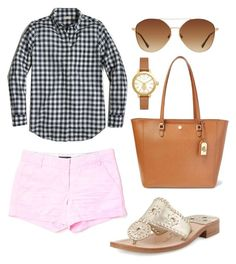 """""""Quick walk around town"""" by camillabeeley on Polyvore featuring J.Crew, Lauren Ralph Lauren, Jack Rogers, MANGO and Tory Burch"""