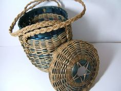 Hand Woven Basket Native American Indian Sweet Grass Handmade Basket with Lid and Handles 1950s. $62.00, via Etsy.
