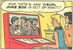 The Scopitone jukebox from the 1960s as shown in Archie comic (with the Beatles…