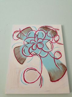 Painted canvas: turquoise cross