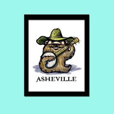 Banjo Print Asheville North Carolina  Mountain by MoonlightMakers