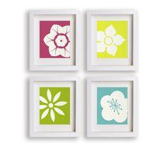 Modern Flowers - Set of Four Art Prints - Nursery Decor, Nursery Art, Girls Room, Floral, Children's Wall Art, Playroom Decor
