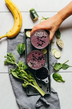 Creamy, nutritious zucchini smoothie with bananas, blueberries, greens, and hemp seeds! Loaded with 8 whole ingredients, plus 1 blender and 10 minutes required! Entirely vegan, gluten-free, and naturally sweetened.