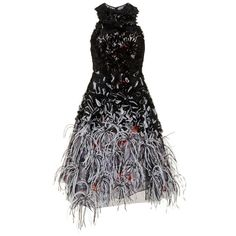 Prabal Gurung Embroidered Sleeveless Racer Neckline Dress (201 795 UAH) ❤ liked on Polyvore featuring dresses, black, prabal gurung, embroidered dress, feather dress, textured dress, prabal gurung dress and no sleeve dress