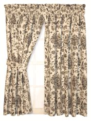 Style# 317 Elizabeth Tailored Panels Window Curtains with Victorian Floral Print Fabric - Click to enlarge