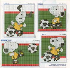 Snoopy plays football - Aguja e hilo..vamos bordar: Punto de Cruz