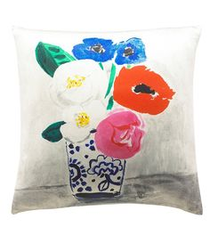 kate spade new york Flower Vase Silk & Cotton Square Feather Pillow