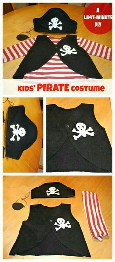 How to make a PIRATE costume for kids – last minute DIY DIY Pirate Halloween Costume for your toddler. If your kid still hasn't got a Halloween outfit, this tutorial might give you an easy idea for a last minute DIY PIRATE costume. Diy Pirate Costume For Kids, Homemade Pirate Costumes, Pirate Halloween Costumes, Halloween Outfits, Diy Costumes, Diy Halloween, Teen Costumes, Costume Ideas, Woman Costumes