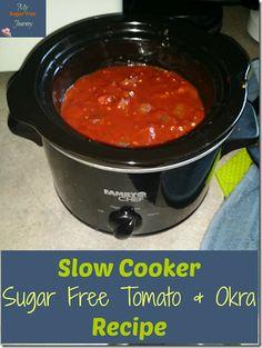 Delicious Slow Cooker Okra and Tomato Sugar Free Recipe! Okra Recipes, Crockpot Recipes, Keto Recipes, Healthy Recipes, Ketogenic Recipes, Okra And Tomato Recipe, Okra And Tomatoes, Good Food, Yummy Food