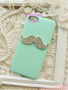 minit Green iPhone 5 Case bling mustache iphone by DIYiPhoneCases, $11.99