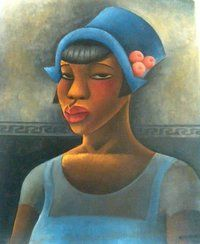 "California African American Museum ""Black Woman with Blue Dress"" from 1926 is one of Miguel Covarrubias' most heralded works. ""It's a fine example of how he can dance with lines and color,"" says Mar Hollingsworth, who is curating an exhibit of the late artist's works at the California African American Museum in Los Angeles."