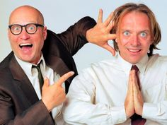 Rik Mayall and Ade Edmondson Rik Mayall & Adrian Edmondson worked together on multiple shows including The Comic Strip Presents., The Dangerous Brothers, The Young Ones, Filthy Rich & Catflap and Bottom. English Comedy, British Comedy, British Sitcoms, Great Comedies, Classic Comedies, Comedy Tv, Comedy Show, Ade Edmondson, Young Ones