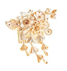 Phoebe  Ivory & Honey Bridal Headpiece comb by PetiteLumiereCo, $239.00