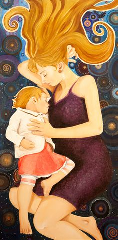 Everytime I Close My Eyes - Inspired by Gustav Klimt — Heather Shirin Fine Art Baby Painting, Family Painting, Eye Painting, Claudia Tremblay, Mother And Child Painting, Love My Kids, Close My Eyes, Gustav Klimt, Mothers Love