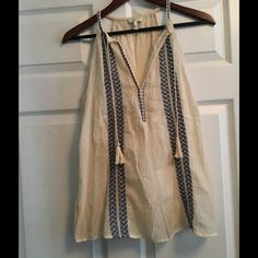 Embroidered Joie Tank Never worn (new without tags) Joie tank. Perfect for summer. Joie Tops Tank Tops