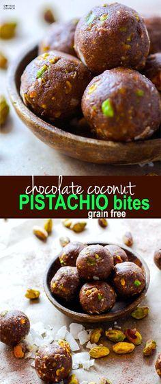 Paleo and Vegan friendly Dark Chocolate Coconut Pistachio bites! A crunchy…