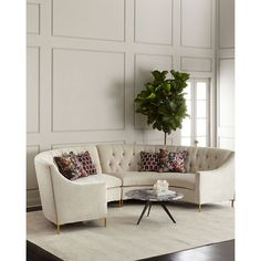 Ambella Jasmine Curved Tufted Sectional (171.982.310 IDR) ❤ liked on Polyvore featuring home, furniture, sofas, cream, tufted furniture, off white couch, tufted sofa, off white sofa and beige couch