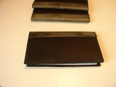 Handmade Leather Checkbook Cover Black w Grey by CSherwoodLeather, $26.00