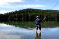 Fly fishing the back country alpine lakes in Montana. He's got to be cold.