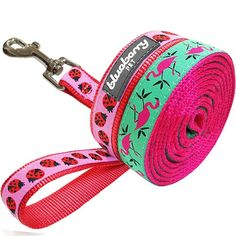 Blueberry Pet Pink Flamingo on Light Emerald or Red Ladybug Dog Leash -- You can get additional details at the image link.