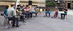 The Bicycle Orchestra playing in Huddersfield, shared by @PackhorseGaller