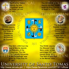 The Seal of the University of Santo Tomas University Of Santo Tomas, Pope Leo, Thomas Aquinas, Alma Mater, King Charles, Island Life, Manila, Old And New, Philippines