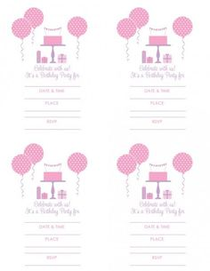 Free girl birthday printable invitation