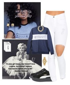 """+you diss on my name ,you get smoked on tha same day+"" by luh-foreign ❤ liked on Polyvore featuring David Yurman, Puma, Stussy, Kenneth Jay Lane and Rolex"
