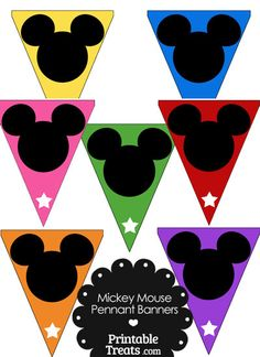 Colorful Mickey Mouse Head Pennant Banners from PrintableTreats.com
