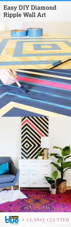 Make an impact with large design, pattern, and colors into your space by creating an easy DIY diamond ripple wall art piece. Paint one diamond in a different color from the rest for a bold ac (Cuadros Diy Ideas) Diy Wall Art, Diy Art, Wall Decor, Diy Simple, Easy Diy, Cheap Home Decor, Diy Home Decor, Mur Diy, Cuadros Diy