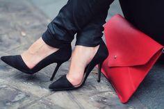 heels +  red clutch