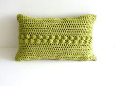 Pistachio crochet pillow  chocolate faux suede  by OriginalCloth, £18.00