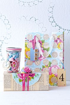 DIY: Easy Shabby Chic Gift Wrap. I like the box. Just need to save some old newspaper or novels, buy some ribbon and beautiful scrapbook paper.
