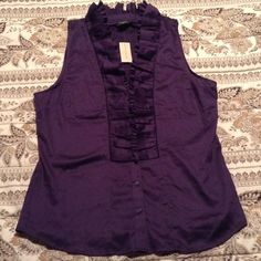"""Cute purple pleated dress rank top Brand new just slightly wrinkled, I have too many clothes, lol, pretty purple pleated neckline dressy tank top, will fit up to 42"""" bust, length is 27"""" Ann Taylor Tops Tank Tops"""