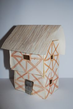 KK My daughter's  reconstruction of a Tudor House - very sturdy and well constructed...even if made out of lolly pop sticks, paper and cardboard