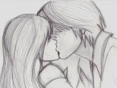 Sketch of girl and boy kiss