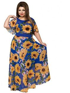 651e4880f74f drew plus Size Sunflower Floral Print Dress Summer Women Chiffon Long  Batwing Sleeve Maxi blue yellow black