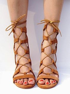 4c963d67e423e6 Shop Brown Suede Lace-up Gladiator Sandals with Gold Heels from choies.com .