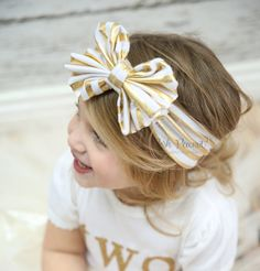 Metallic Bow headwrap Top knot Big bow headwrap by PoshPeanutKids