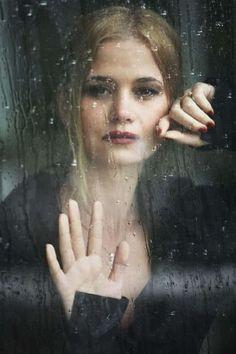 Portrait of a lady by Sergey Kondratyev, rain in the window I Love Rain, When It Rains, Tornados, Dancing In The Rain, Rain Drops, Rainy Days, Rainy Night, Portrait Photography, Rain Photography
