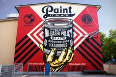 # streetart # München # POSITIVEPROPAGANDA x OBEY Shepard Fairey - Paint it Black (Hand) #Munich #München