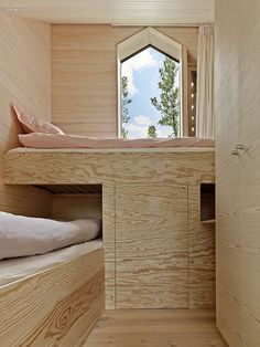 Reiulf Ramstad / weekend house near Hol, Norway / In the three children's rooms, built-in plywood bunks incorporate storage. Interior Design Magazine, Bungalows, Plywood Interior, Plywood Furniture, Cheap Furniture, Modern Furniture, Weekend House, Childrens Beds, Tiny Spaces