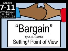 "If you have the short story ""Bargain"" by A. B. Guthrie in your anthology, this lesson is for you! This resource includes the Powerpoint, two- day lesson plan, and two worksheets. (Answer Keys included)Created to be fully useful, this is a straightforward lesson plan with worksheets that I have found to be very successful with """"Bargain,"" a short story on justice.I use this at the beginning of the year when teaching the plot mountain."
