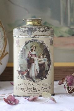 vintage talc powder tin