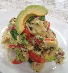 Serenata de bacalao ( Puerto Rican Cod Salad) this delicious dish it is prepared mostly during Easter in Puerto Rico. Puerto Rican Dishes, Puerto Rican Cuisine, Puerto Rican Recipes, Mexican Food Recipes, Dinner Recipes, Dinner Ideas, Dessert Recipes, Seafood Dishes, Seafood Recipes