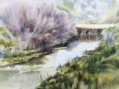 Mercedes Peña, acuarelas: Almadén de la Plata, el río