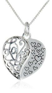 """Sterling Silver """"My Daughter My Love"""" Heart Pendant Necklace"""