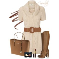 """Mk Bag & Knit Sweater"" by casuality on Polyvore"